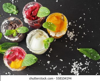 Mixed ice cream (sorbet) in glass