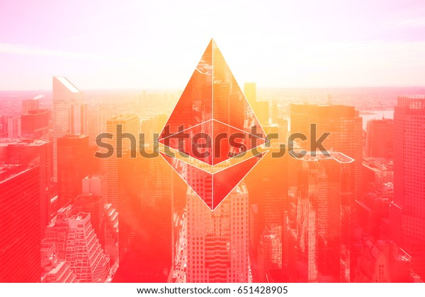 mixed image which are ethereum crypto currency and business building on vintage red color