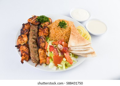 Mixed Kabab with Rice and Pita Bread in Mediterranean Levantine Cuisine