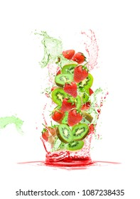 mixed kiwi and strawberries fruit falling in colorful juices splashing