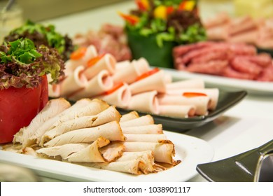 Mixed Meat coldcut texture closeup background. Buffet, cuts.