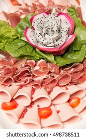 A mixed Meat coldcut texture closeup background