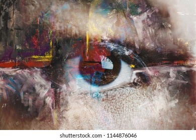 Mixed media of abstract painting and eye