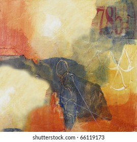 Mixed media abstract painting on canvas