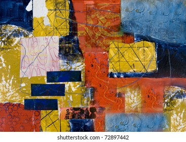 Mixed media abstract painting with rectangles