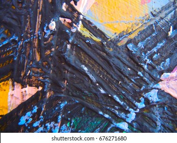 MIXED MEDIA / ART / Multicolor Thick Acrylic Latex Paint Texture Abstract Shapes