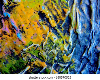 MIXED MEDIA / ART / Multicolor Thick Acrylic Latex Paint Texture Abstract