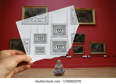 Mixed media image showing a hand-held piece of paper with a pencil drawing depicting frames with big eyes with museum exhibition and red wall in the photo background.