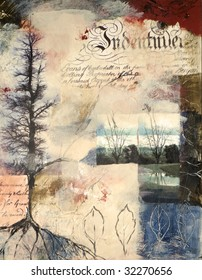 Mixed media painting with photographs of trees in winter