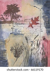 Mixed media painting with tree, leaves, grasses, text