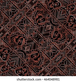 Mixed media technique style modern abstract ornate geometric ethnic or tribal style seamless textile pattern design red and black and white colors.