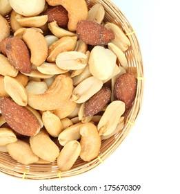 mixed nut on white background