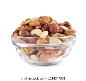 mixed nuts bowl isolated on white background