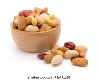 Mixed nuts in a bowl on white wood background.
