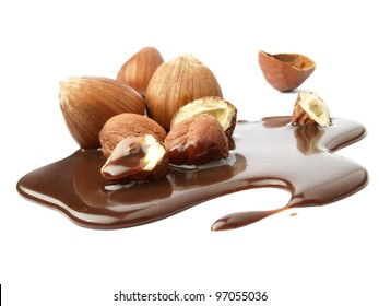 Mixed nuts and chocolate with hazelnuts