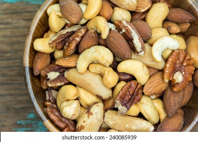 Mixed nuts in dishes