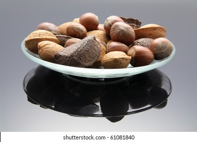 Mixed Nuts on Plate with Reflection