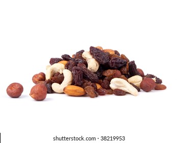 Mixed nuts and raisins isolated on white