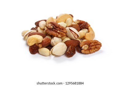 Mixed nuts snacks  isolated on white background.