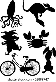 mixed outline animals and objects (vector image available in portfolio)