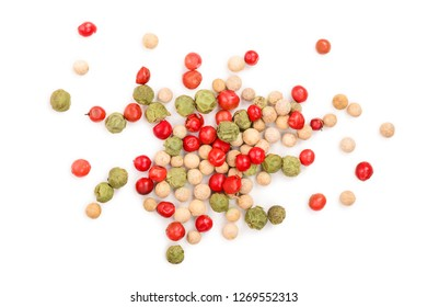 Mixed of peppercorn red white and green pepper isolated on white background. Top view