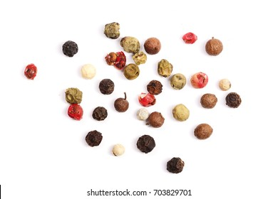 Mixed of peppers hot, red, black, white and green pepper isolated on white background. Top view