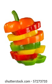 Mixed peppers in stack
