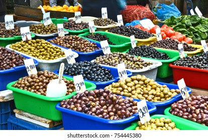 Mixed and A lot of Pitted Olives in the Central Market of Athens.