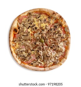 Mixed pizza with mushrooms, ham and cheese on white background.