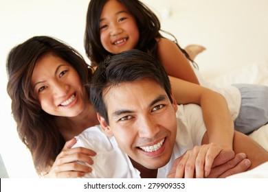 Mixed race Asian family
