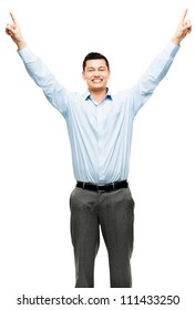 Mixed race businessman celebrating success isolated on white background