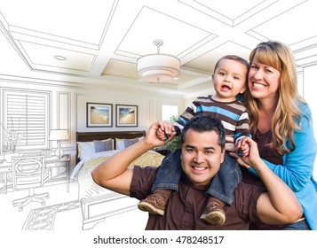 Mixed Race Family With Baby Over Custom Bedroom Drawing and Photo Combination.