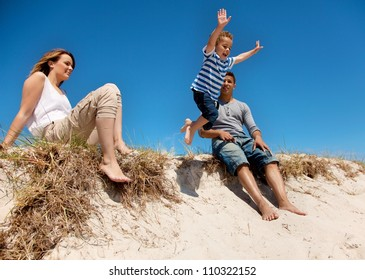Mixed race family enjoying their summer vacation outdoors