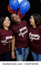 Mixed race friends celebrating a birhtday