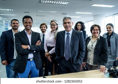 A mixed race and mixed gender group of executive office workers in Sao Paulo, Brazil