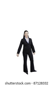 Mixed race woman in a business suit. She has a big smile. This has a clipping path.