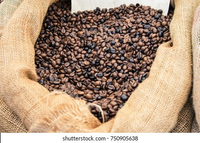Mixed Roasted coffee beans in a bag