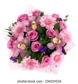 A mixed round bouquet of roses aqua