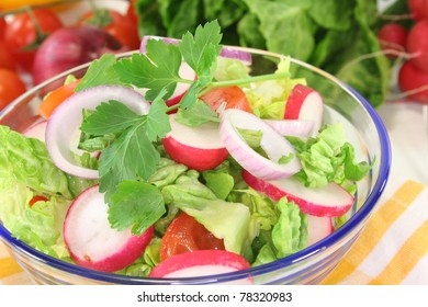 mixed salad with lettuce, radishes, tomatoes and parsley