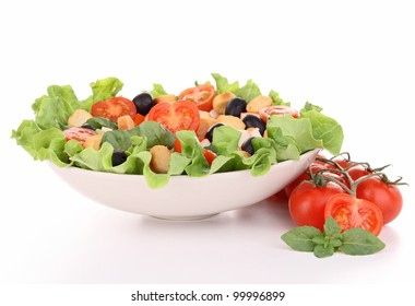 mixed salad on white