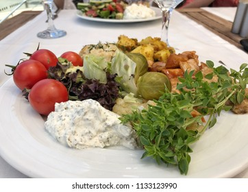 mixed salad plate on table