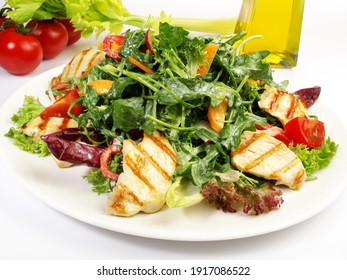 Mixed Salad with Spinach and Rocket Salad with Grilled Chicken isolated on white Background
