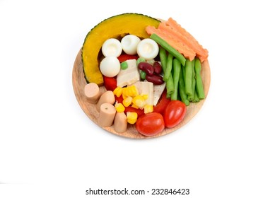 Mixed Salad in wooden Tray isolated on white
