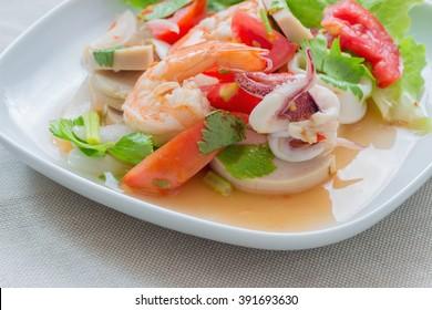 Mixed seafood salad ,thai food