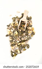 mixed seeds on white background