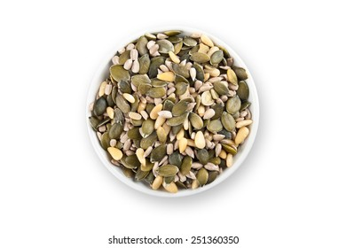 mixed seeds in white bowl
