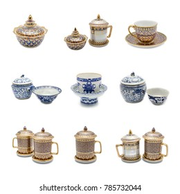 A mixed set of beautiful benjarong and china wares featuring various fine textures on white background