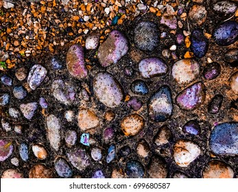 Mixed size Colorful stones surrounded by wet black mould on the ground on a rainy day.