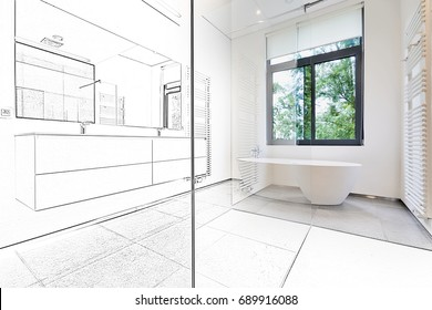 Mixed sketch of a Bathtub in corian, Faucet and shower in tiled bathroom with windows towards garden