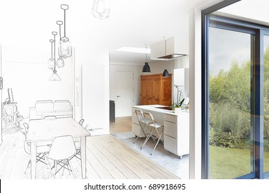 Mixed sketch of a Modern luxury living room and kitchen